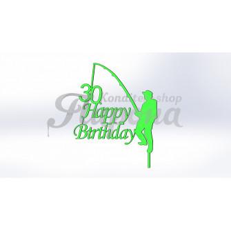 "Топпер на торт ""30 С днем рождения рыбаку"""